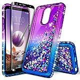 LG Stylo 4 Case, LG Stylo 4 Plus Case, LG Q Stylus w/[Full Cover Tempered Glass Screen Protector], NageBee Glitter Liquid Waterfall Flowing Sparkle Shiny Diamond Girls Cute Case -Purple/Blue