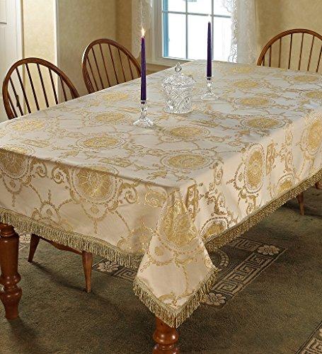 """Violet Linen Prestige Damask Design Oblong/Rectangle Tablecloth, 60"""" x 102"""", Beige"""