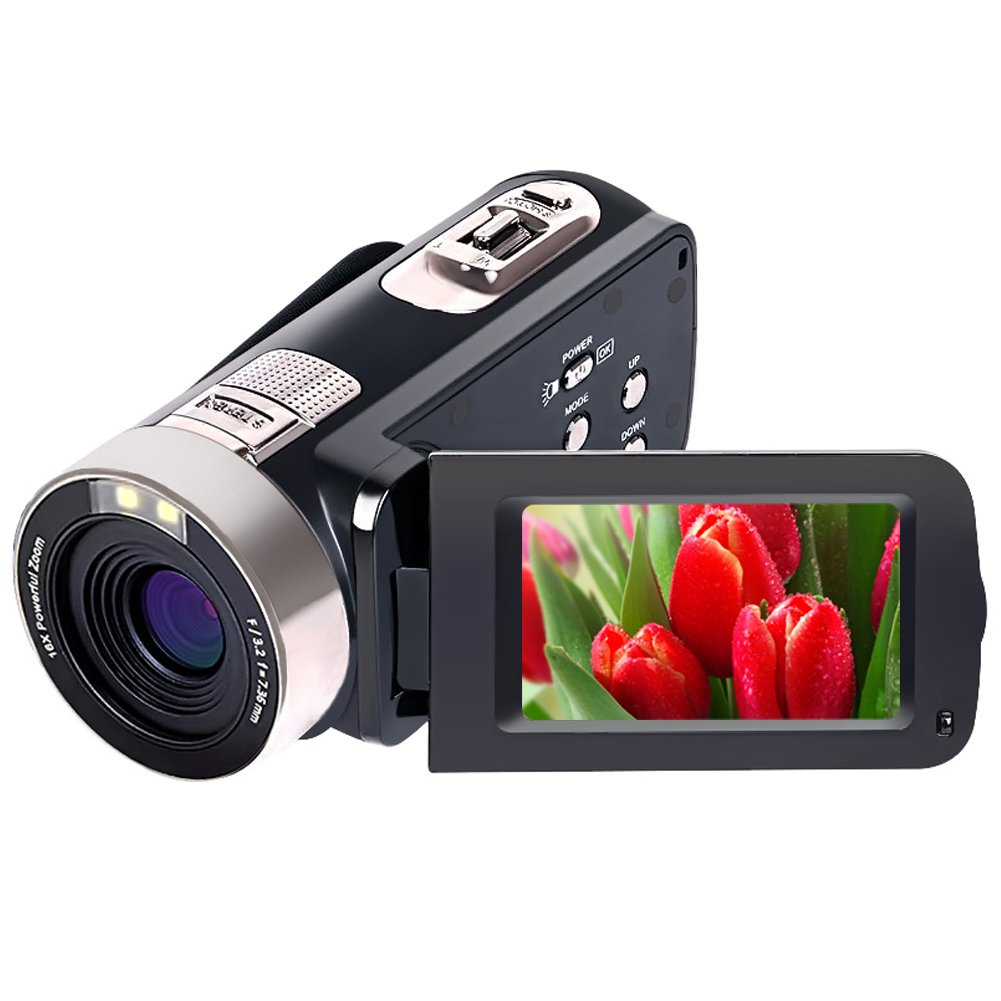 Camcorder Video Camera Full HD 1080p 24.0 MP Digital Camera Camcorders 16X Digital Zoom 270 Degree Rotation For Selfie Pause Function by SUNLEA