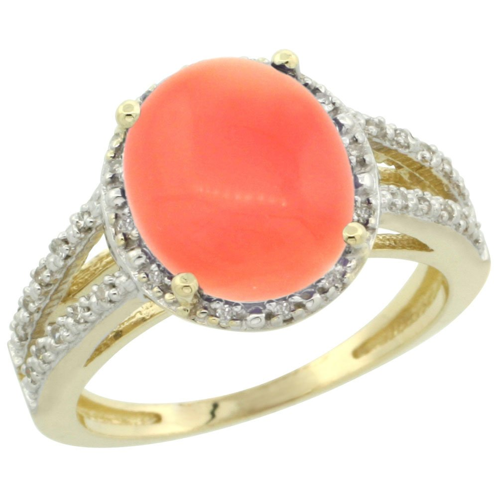 14K Yellow Gold Natural Coral Diamond Halo Ring Oval 11x9mm, size 10