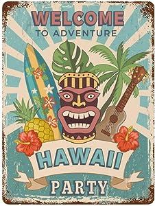BYRON HOYLE Hawaiian Party Invitation Vintage Metal Tin Sign, Hawaiian Party Wall Art Decor Poster for Home Bar Party Restaurants Cafes Outdoors