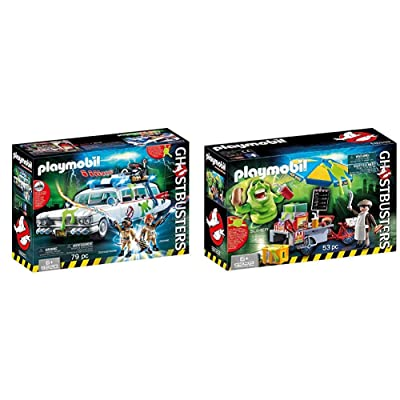 PLAYMOBIL 9220 - Ghostbusters Ecto-1 & 9222 - Slimer mit Hot Dog Stand: Toys & Games