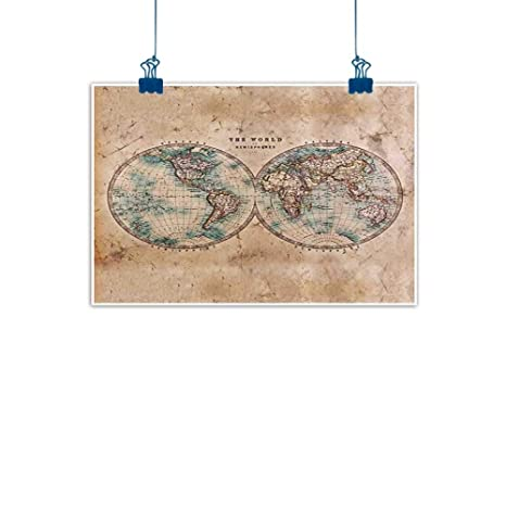 Sunset Glow Wall Art Print Home Decor World MapThe In Hemispheres Vintage Old