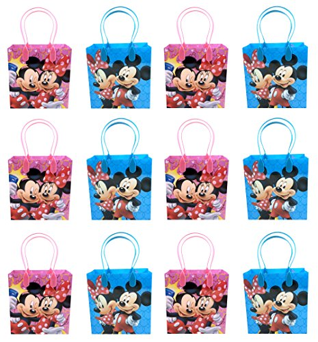 Disney Mickey and Minnie Mouse Character 12 Premium Quality Party Favor Reusable Goodie Small Gift Bags -