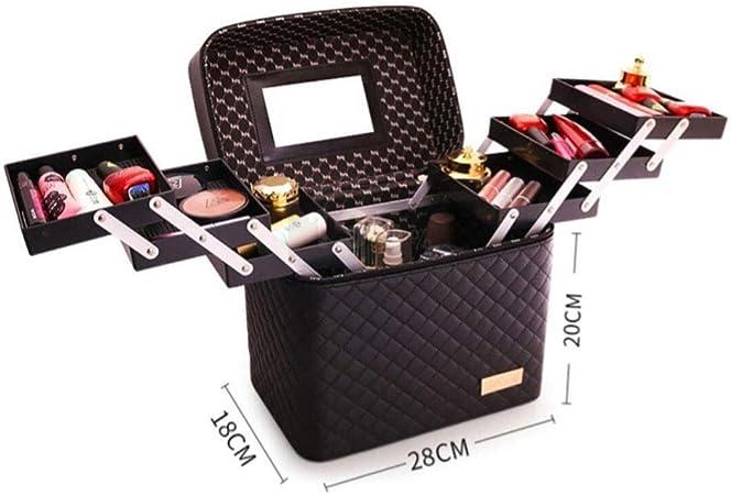 LUGEUK Viaje Maquillaje Caja de Tren Maquillaje Estuche de cosméticos Organizador Portátil Bolsa de Almacenamiento Artista Joyería estilográfica (Size : L28*w18*20cm): Amazon.es: Hogar