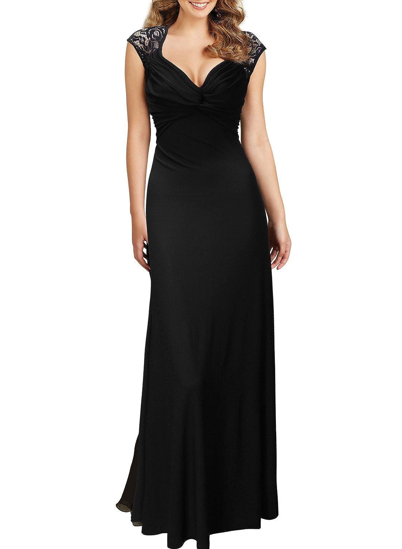 Miusol® Damen Sommerkleid V-Ausschnitt Spitzenkleid Rückenfrei Cocktailkleid Langes Party Kleid Schwarz EU 36-46