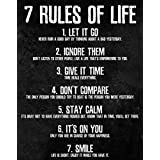 7 Rules of Life Motivational Poster - Printed on Premium Cardstock Paper - Sized 11 x 14 Inch - Perfect Print For Bedroom or Home Office