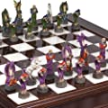 Hand Painted Fantasy Chessmen & Alabastro Luxury Chess Board/Cabinet from Italy.