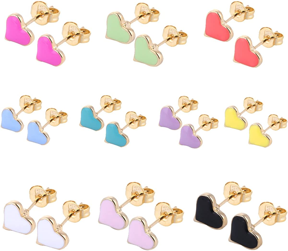 10/8/33 Pairs 18K Gold Plated Small Cute Simple Post Stud Earrings Set for Girls Kids Gold Tone Mix and Match 61YiKUGScgL