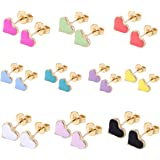 10/8Pairs 18K Gold Plated Small Cute Simple Post Stud Earrings Set for Girls Kids Gold Tone Mix and Match