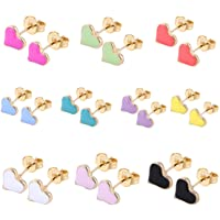 10/8/33 Pairs 18K Gold Plated Small Cute Simple Post Stud Earrings Set for Girls Kids Gold Tone Mix and Match