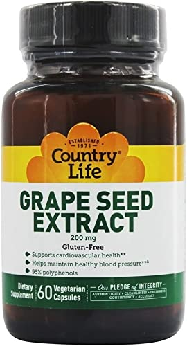 Country Life Grape Seed Extract – 200 mg, 60 Vegetarian Capsules