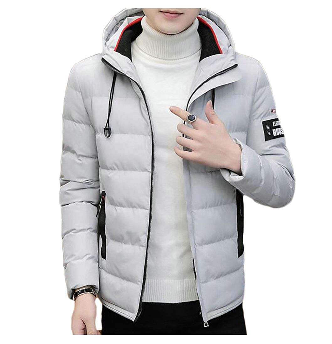Lutratocro Mens Outerwear Vogue Cotton-Padded Quilted Fit Jacket Parkas Coat