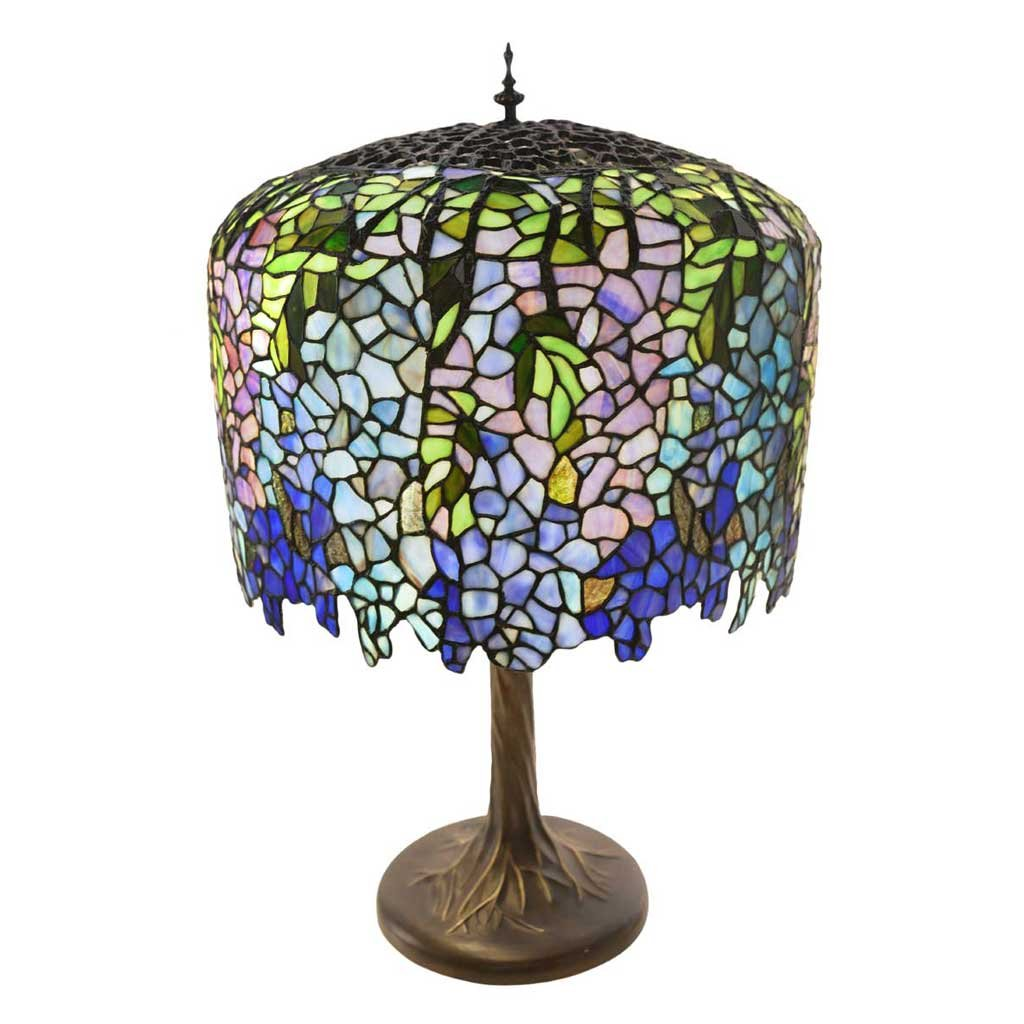30'' H Stained Glass Tiffany Inspired Grand Wisteria Table Lamp with Tree Trunk Base