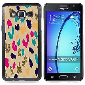 /Skull Market/ - Teal Gold Leopard Animal Pattern Cheetah For Samsung Galaxy On5 SM-G550FY G550 - Mano cubierta de la caja pintada de encargo de lujo -