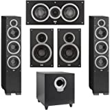 Elac 5.1 System with 2 Debut F6 Floorstanding Speakers, 1 Debut C5 Center Speaker, 2 Debut B6 Bookshelf Speakers, 1 Debut S10 Subwoofer