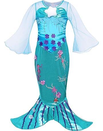 da8669668 AmzBarley The Little Mermaid Costume Ariel Dress up Girls Kids Fish Tail  Party Fancy Dresses Halloween