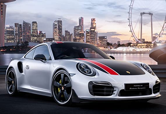 Amazon.com: Porsche 911 Turbo S Coupe SG50 Custom (2016) Car Print on 10 Mil Archival Satin Paper White/Black Front Side Static View 11