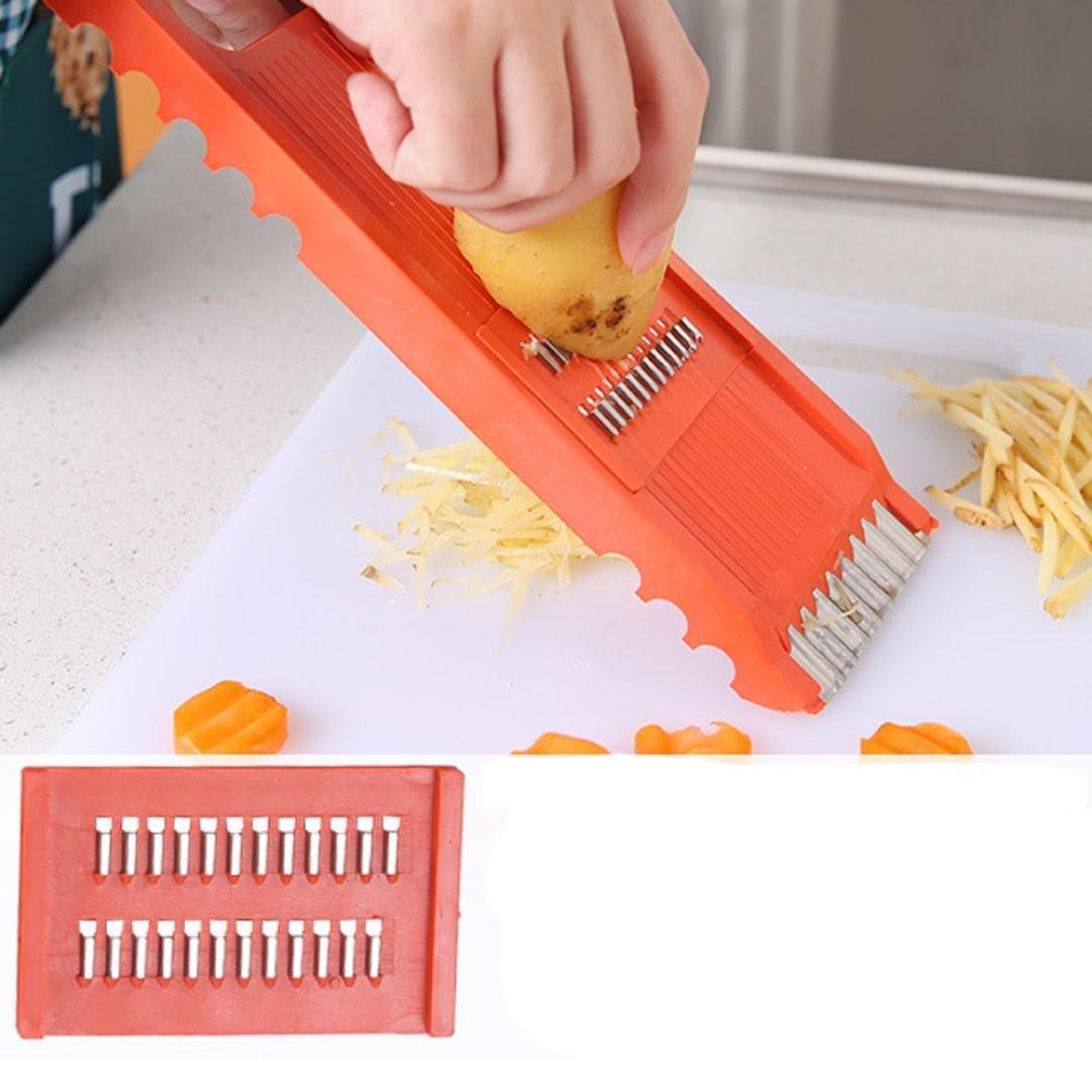 IGEMY 7Pcs Fruit Vegetable Potato Slicer Cutter Chopper Peeler Kitchen Food Tool Set (Orange) LEPAZN2833