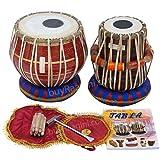 MAHARAJA Tabla Drum Set, 3KG Red Brass Bayan, Finest Dayan with Book, Hammer, Cushions & Cover (PDI-FC)