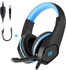 OKOMATCH Gaming Headset,3.5mm Jack Over-Ear Headphone with Stereo Surround Sound,Noise-Canceling Microphone for PC,PS4,Xbox,Tablet,Smartphones,Great Gift for Kids,Teenagers(Blue)