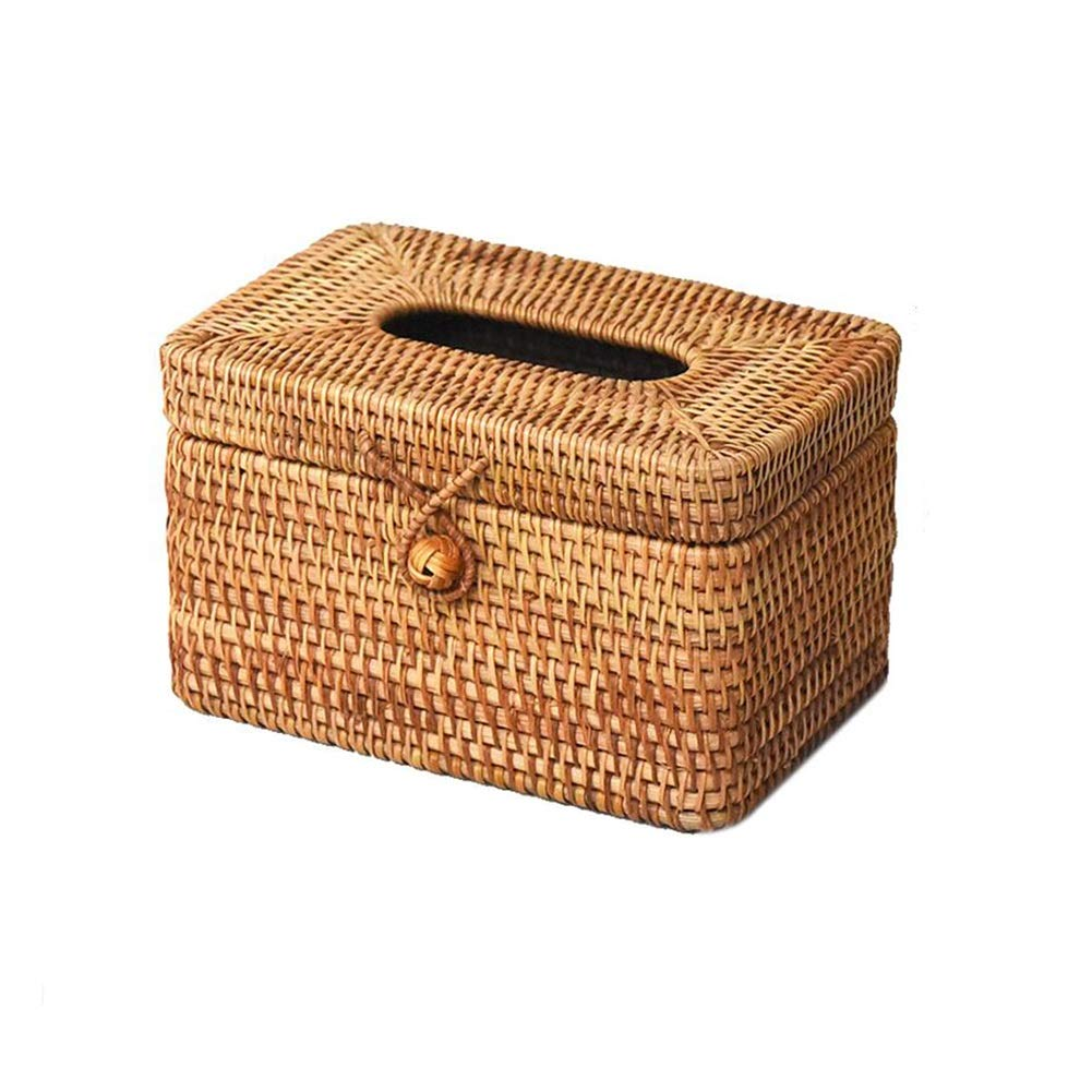 T1 19x13x12cm MUMA Storage Box Handwoven Rattan Tissue Box Home Organizer Bins (color   T1, Size   21x12x11cm)