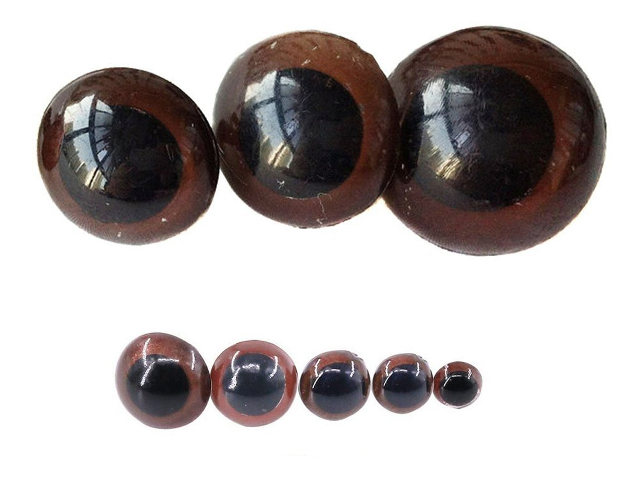 UPSTORE 100PCS Brown Plastic Safety Screw Eyes Craft Eyes with Washer for DIY Toy Teady Bear Puppet Doll Making Accessories Supply Diameter 18mm