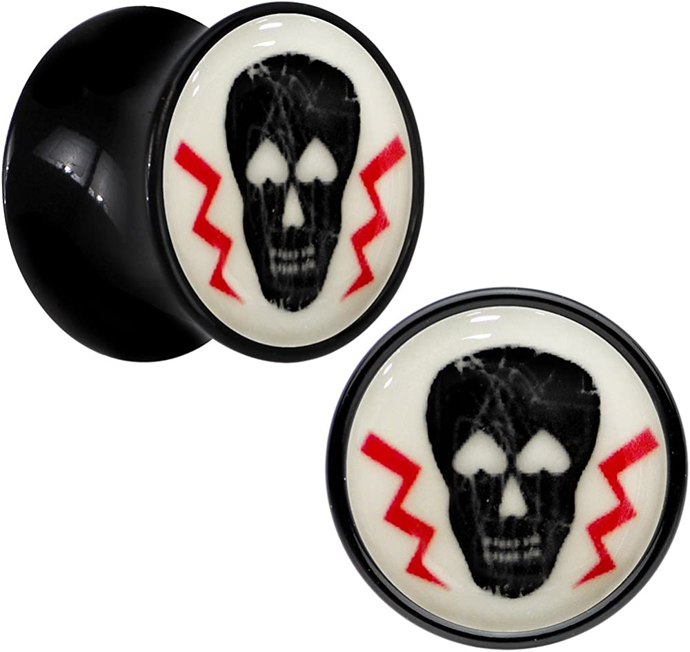 Sold as a Pair Glow in the Dark Lightning Bolt Single Flared Ear Gauge Plug