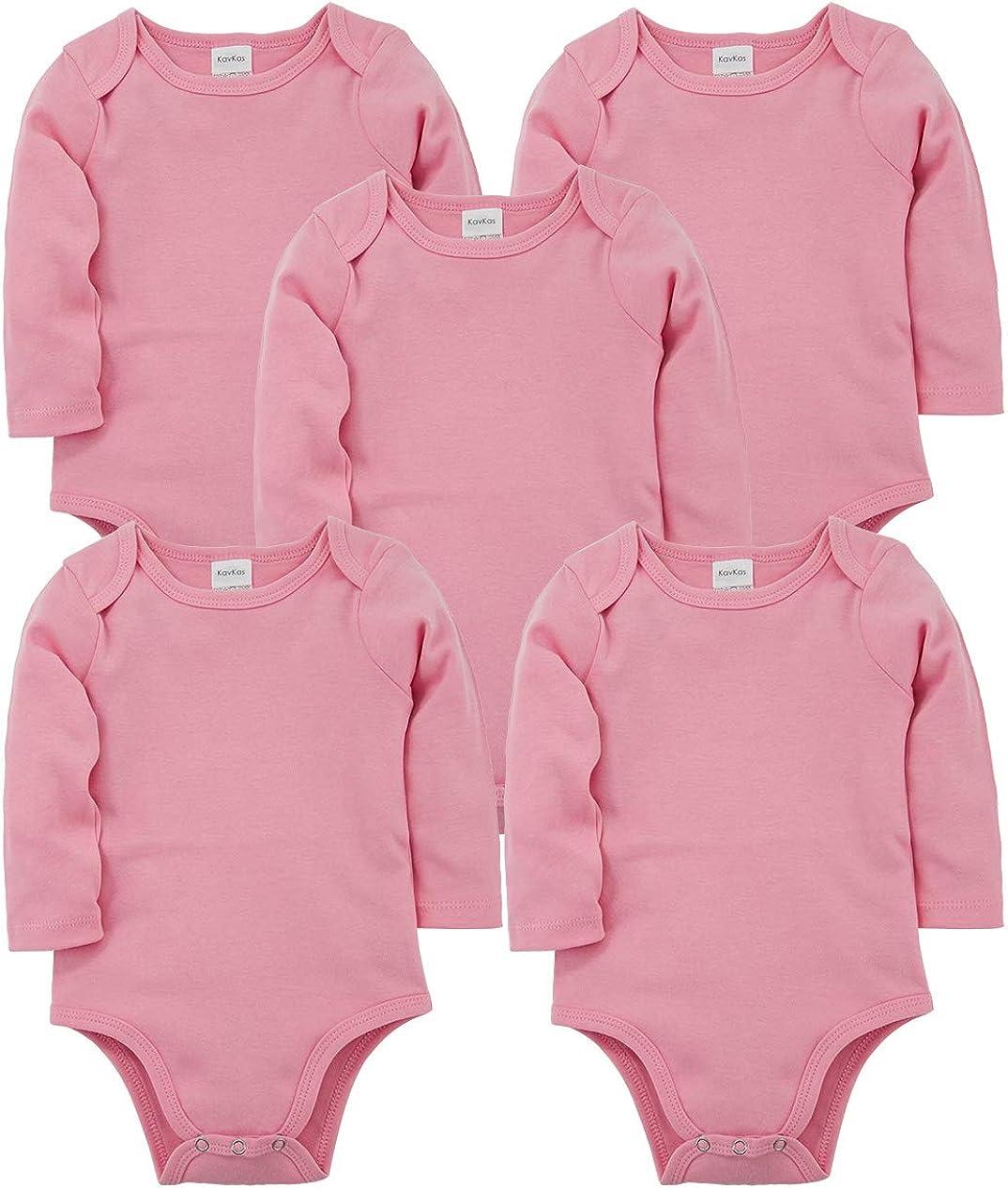 kavkas Baby Long Sleeve Onesies Infant Boys Girls Soft Cotton Bodysuit 5 Pack Newborn Undershirts