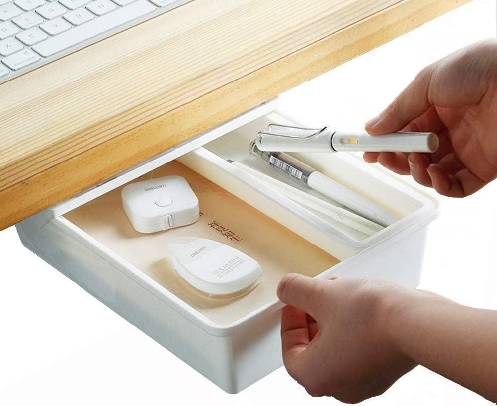 Baffect Under Desk Drawer Organizer Hidden Storage Organization Desk Drawer Tray Slide Out White with Removable Compartment (Medium)