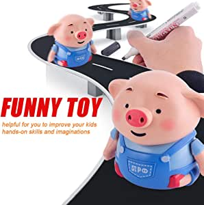 Yukuai Magic Pen Inductive Automatic Follow Pig Toy, USB Charging, Scribing Induction with Pen, Follow Black Drawing Lines Track Car Educational Toys for Kids Best Gift