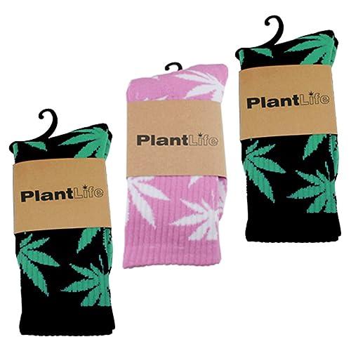 3x PlantLife Calcetines - tamaño universal - 2x Pares de Calcetines en negro/verde y 1x Par en rosa/blanco: Amazon.es: Zapatos y complementos