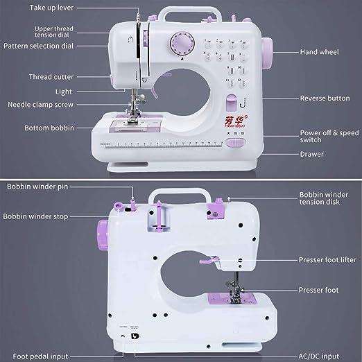 Máquina de Coser Doméstica con Mesa de Extensión, Herramienta de Coser Overlock Eléctrica Portátil y Multifuncional para Principiantes Coser en Casa Artesanía Costura DIY: Amazon.es: Hogar
