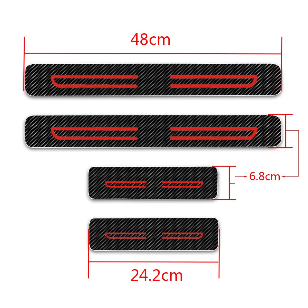For Celoster Accent Cerna Elantra I20 I30 Door Sill Protector,Kick Plates Pedal Threshold Cover Carbon Fiber Sticker Anti-Scratch Anti-Slip Car Styling 4Pcs White