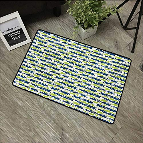 (Outdoor Door mat W31 x L47 INCH Floral,Stripes with Nature Blossom Silhouettes Coming of The Spring Theme,Navy Blue and Apple Green Non-Slip Door Mat Carpet)