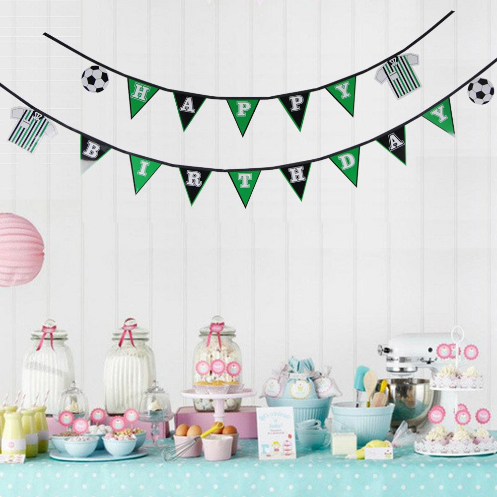 LTD Birthday Pingyang county Mei Chen paper plastic products co 1 Set Soccer Happy Birthday Banner Flag Football Banner Sports Theme Party Banner for Kids Room Boys Photo Prop Decor SUNBEAUTY