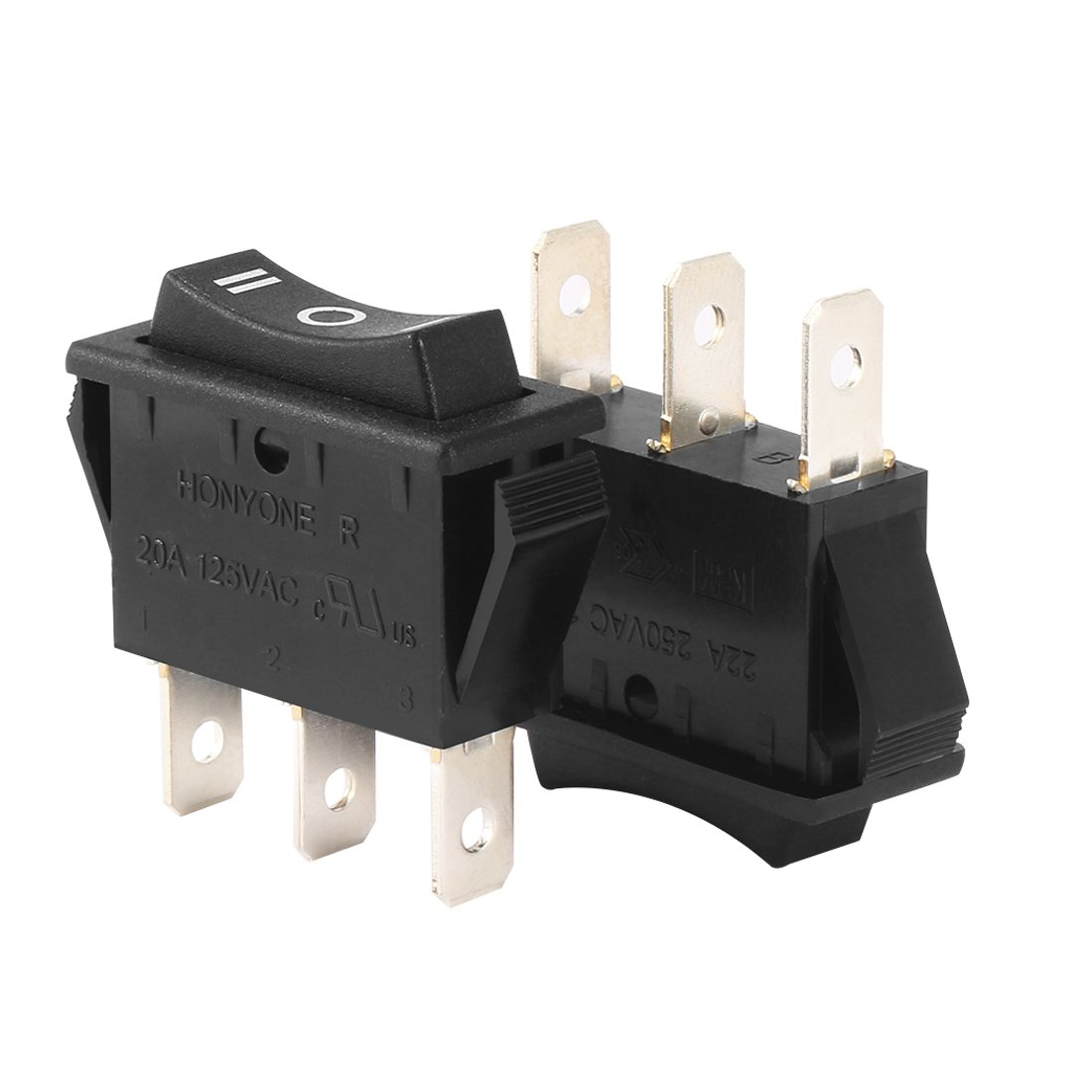 Aexit AC 20A/125V Relays 22A/250V SPDT 3P On/Off/On 3 Position Boat Rocker Switch Black Antitheft UL Listed
