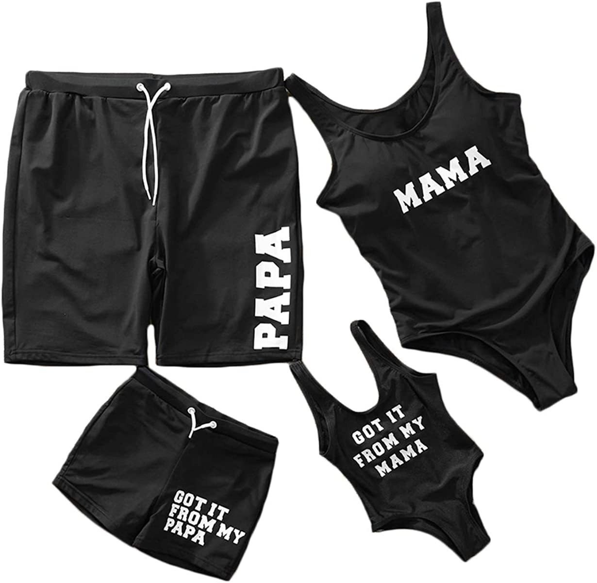 Family Matching Swimsuit Women One Piece Beach Wear Letter Printed Monokini Swimwear
