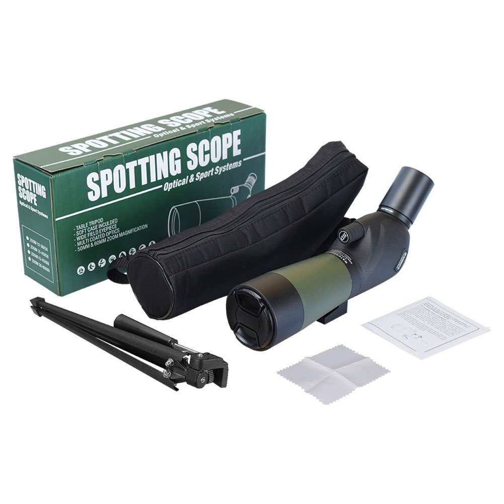 AOMEKIE Spotting Scope 20-60 X 60mm Zoom Spotter Scope Waterproof with Tripod Phone Adapter Bak4 Prism and Carrying Bag for Target Shooting Hunting Bird Watching 45-Degree Angled  by AOMEKIE