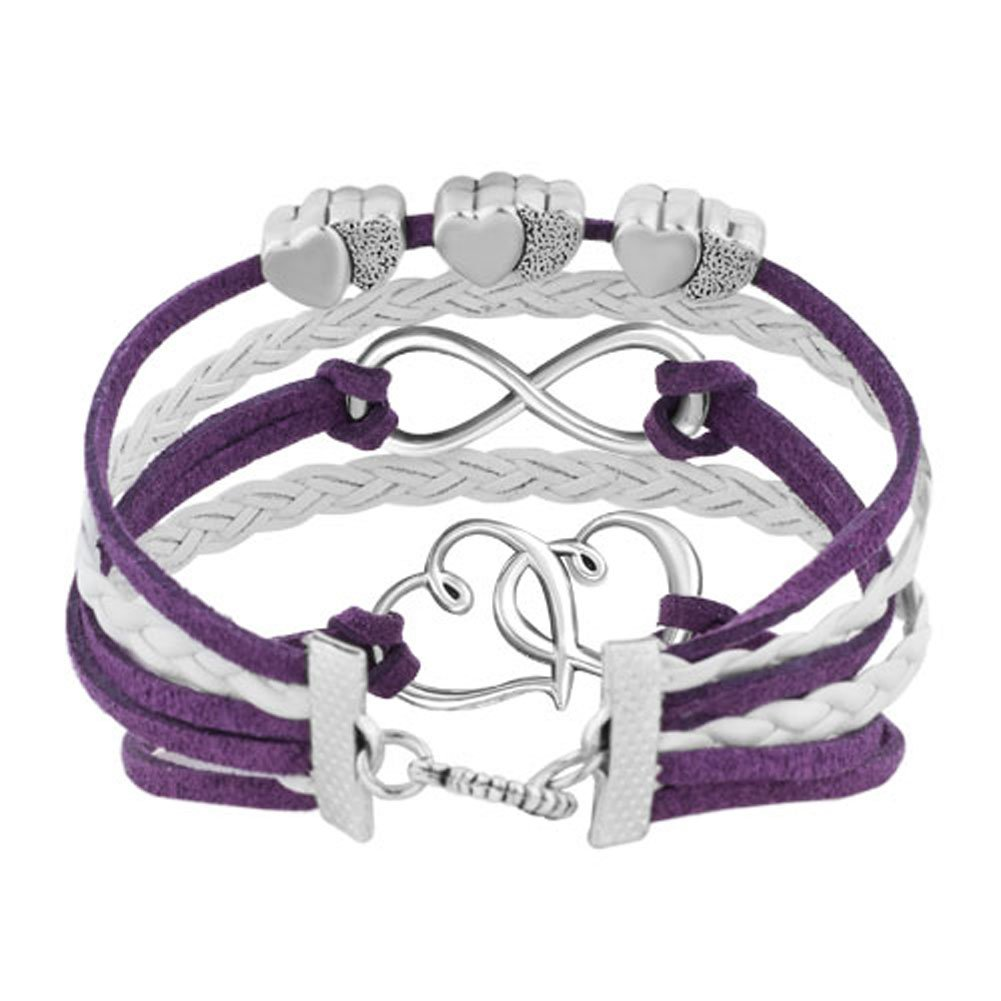 Charmed Craft Infinity Love Double Heart Charm Bracelet Leather Wrap Rope Braided Bracelets Handmade BR_HSJ308_X13