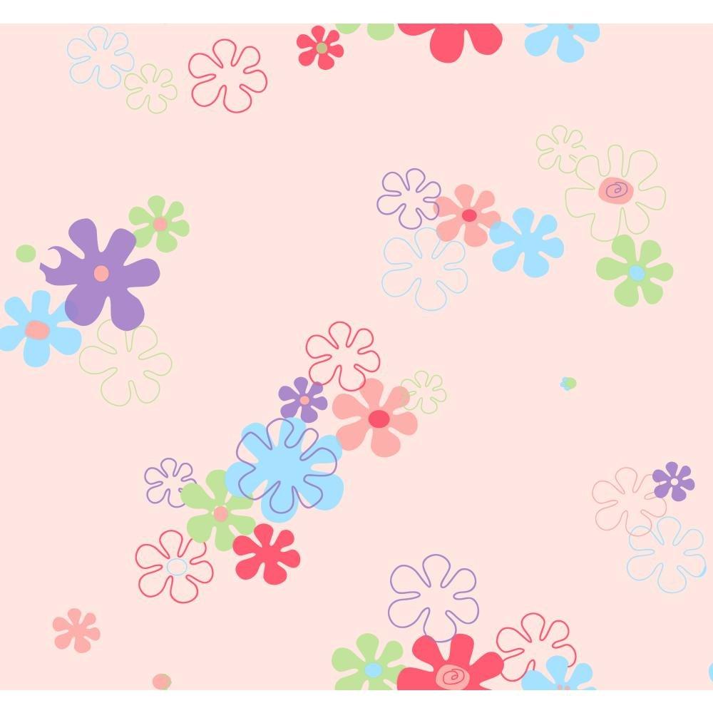 York Wallcoverings KL2967SMP York Kids IV Flower Power 8-Inch x 10-Inch Memo Sample Wallpaper, Pink Background/Multi