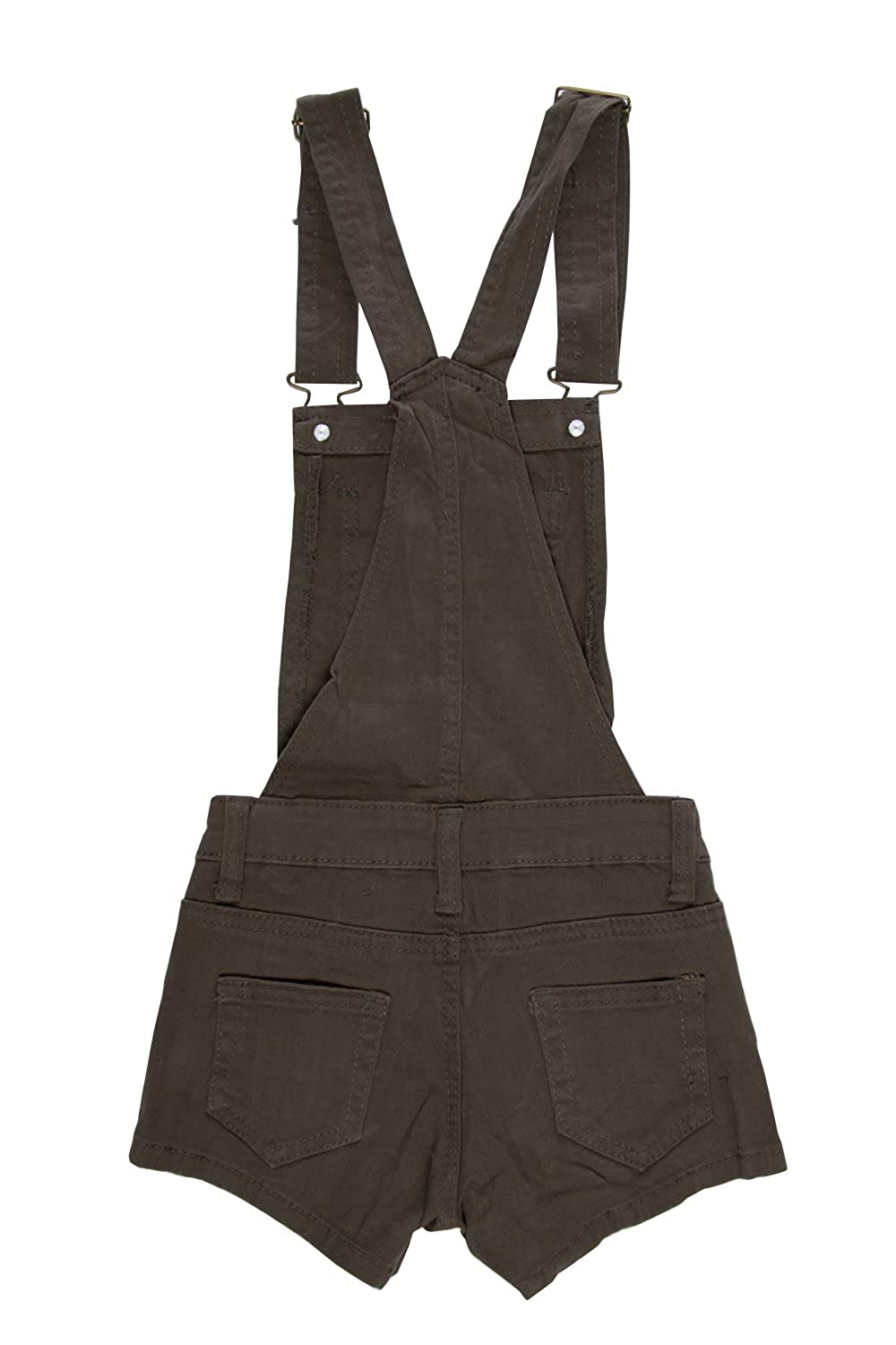 Girls Kids Front Pocket Side Button Suspender Shorts Overall JGSHO 4, Army Green