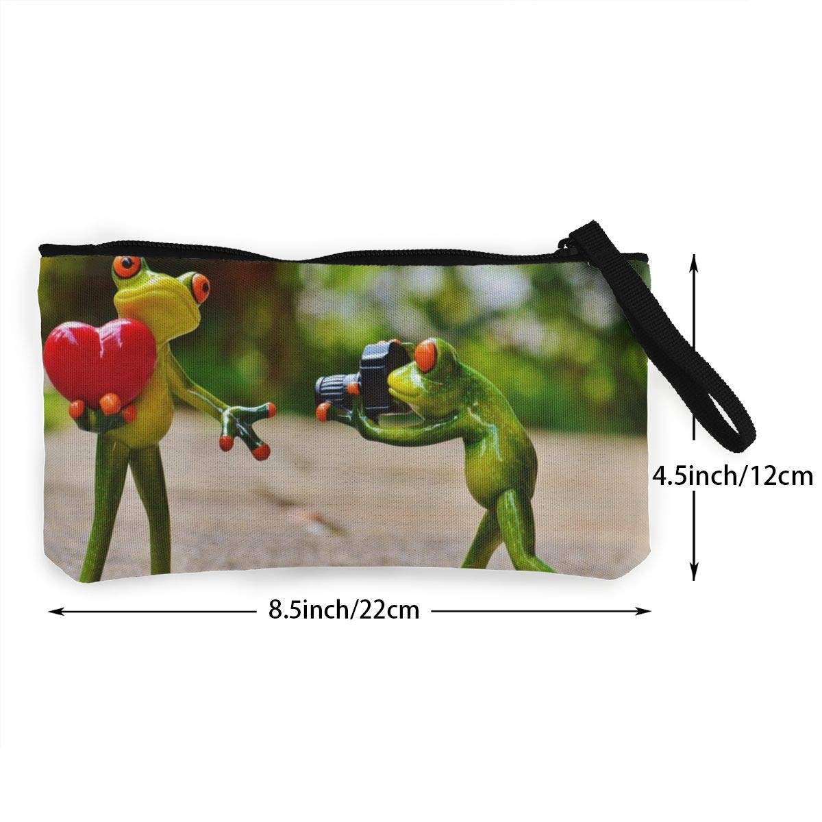 Make Up Bag,Cellphone Bag With Handle Figurine Of Frog With Heart And Camera Zipper Canvas Coin Purse Wallet