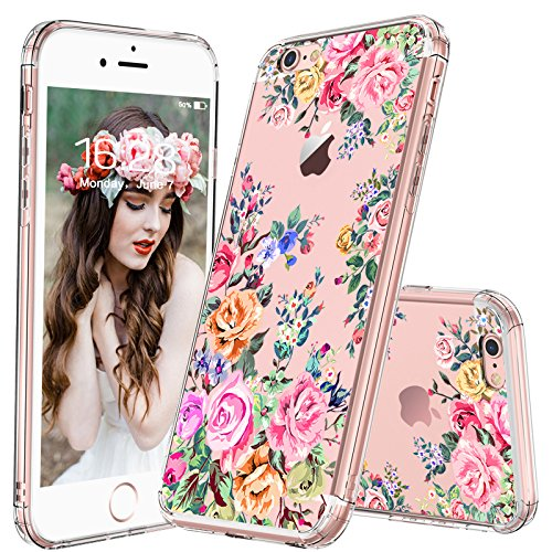 MOSNOVO iPhone 6 Plus Case/iPhone 6s Plus Case for Girls, Roses Garden Floral Flower Clear Design Plastic Back Hard Case with TPU Bumper Protective Case Cover for iPhone 6 Plus/iPhone 6S Plus Case