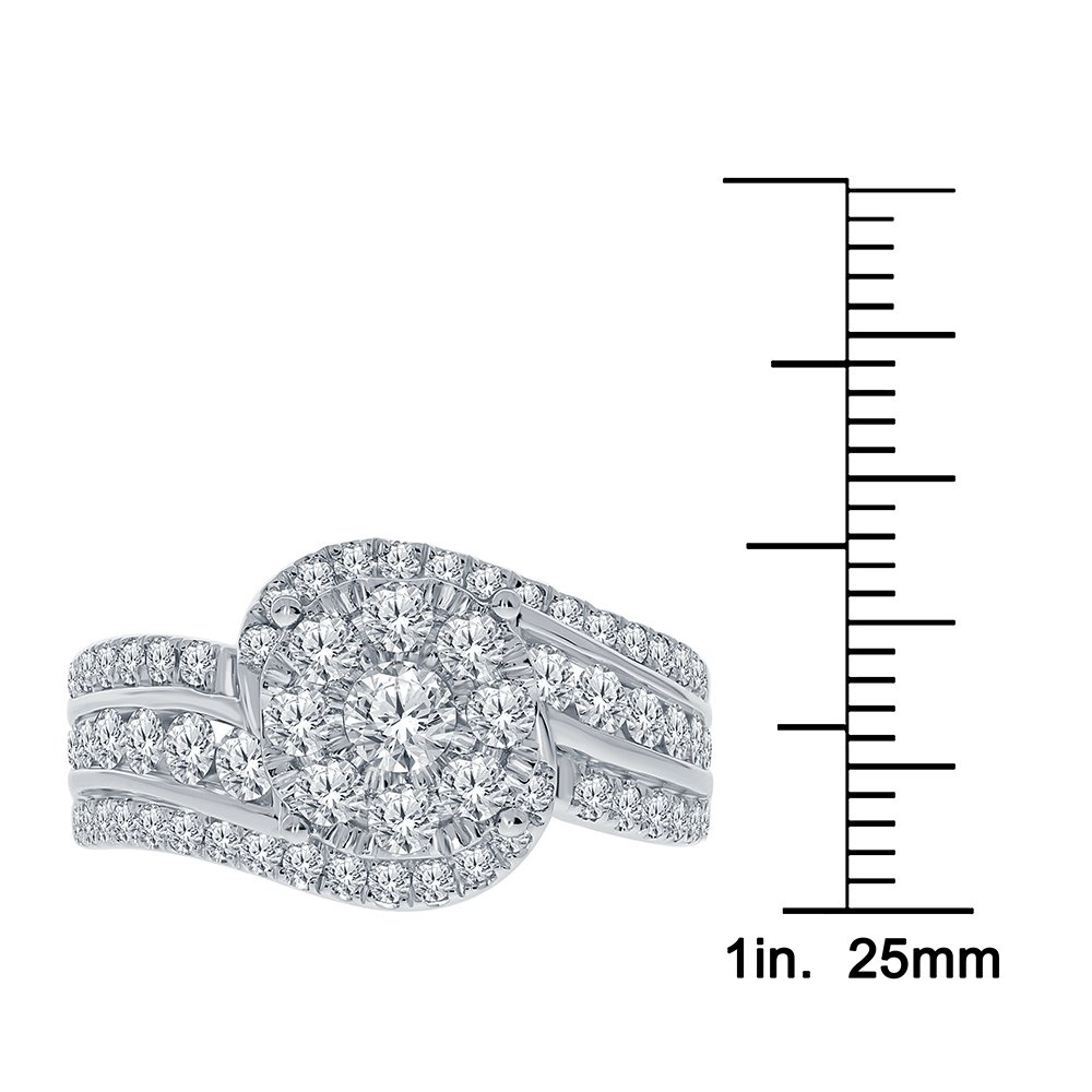 Real Diamond Engagement Ring 14K White Gold 1.65 TCW Center .16 Carat Diamond Ring Fine Diamond Jewelry by Wholesale Diamonds (Image #5)