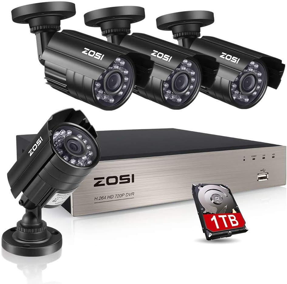 ZOSI CCTV Kit de Cámaras Seguridad 8CH HD Grabador DVR + (4) 1080P Cámara de Vigilancia Exterior, 20m Visión Nocturna, Detección de Movimiento, P2P, 1TB Disco Duro