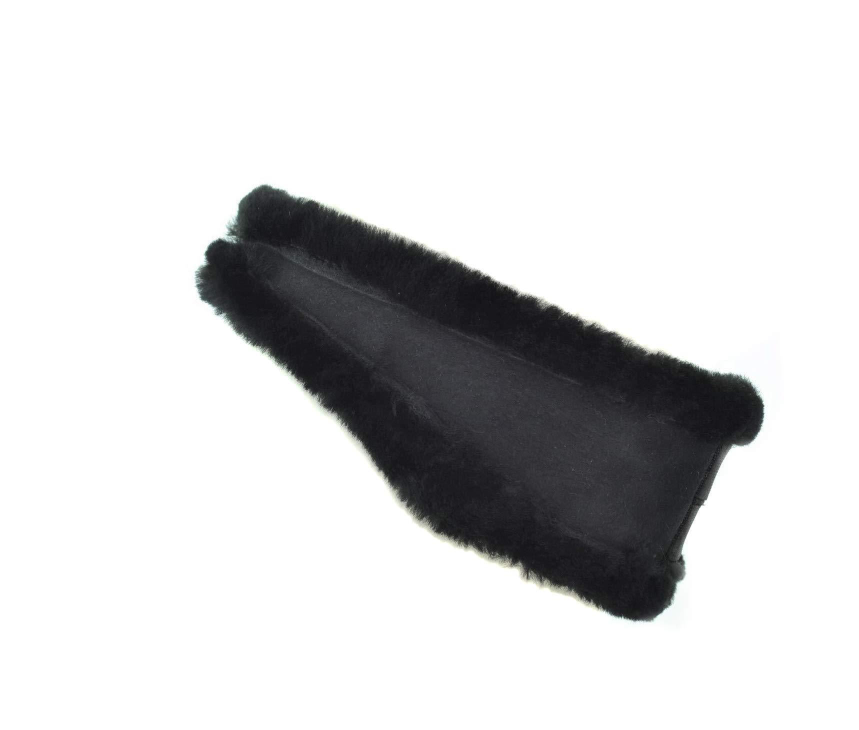 Surell Genuine Soft Black Shearling Headband - Winter Fashion Sheepskin Ear Warmers - Perfect Elegant Women's Luxury Gift by surell