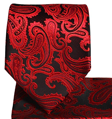 Men's Paisley Necktie Set (Red/Black) (Orange Paisley Tie)
