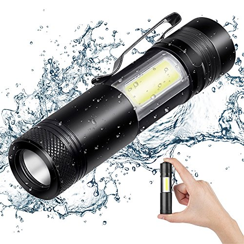 Portable Mini LED Flashlight Ultra Bright 500 Lumens Handheld Light, Waterproof Flashlight, CREE LED + COB LED Pocket Work Light 4 Modes, Aluminum Alloy (Black) for Camping, Hiking and Emergency Use