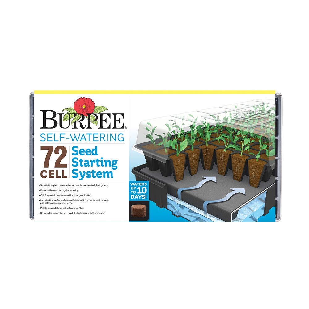Burpee 72 Cell Self-Watering Seed Starting Kit, 72 Cell, Black by Burpee